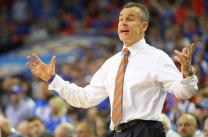 Florida head coach Billy Donovan reacts to a Florida foul during the first half of the SEC Tournament championship game between Kentucky and Florida on Sunday, March 16, 2014, at the Georgia Dome in Atlanta. Florida led 40-30 at the half. MIKE KREBS/The Maneater
